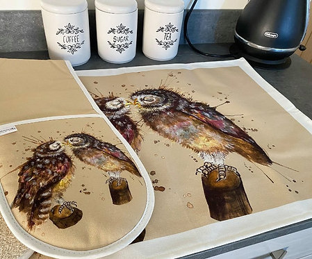 Splatter Loved Up Owls Tea Towel