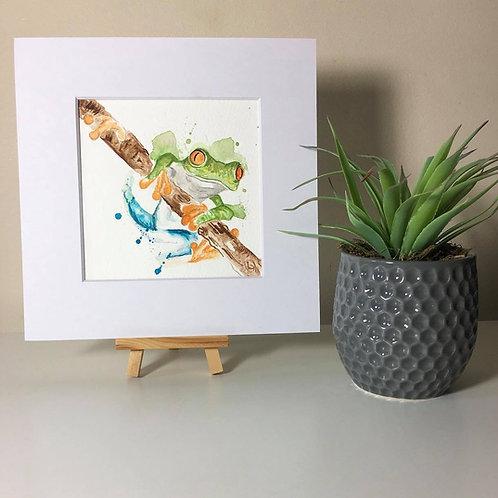 Original Watercolour Painting Splatter Frog