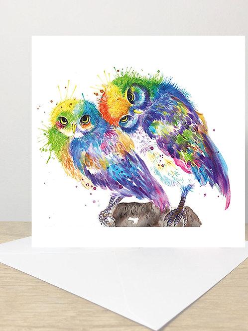 Rainbow Owls Greeting Card