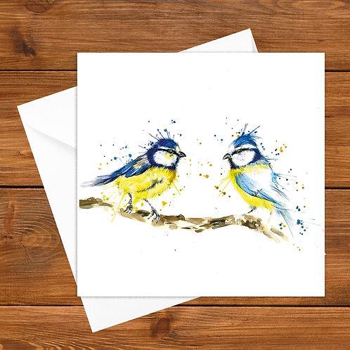 Splatter Bluetits Greeting Card