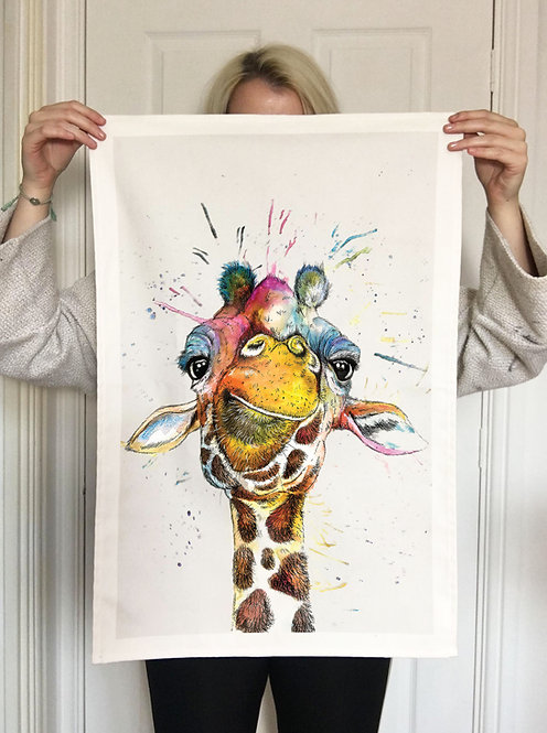Splatter Rainbow Giraffe Tea Towel