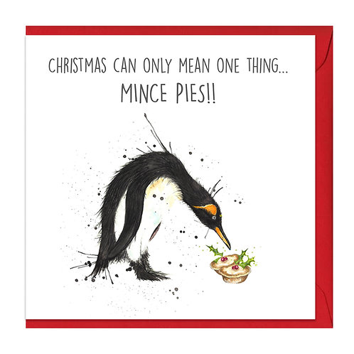 Penguin Mince Pies Card