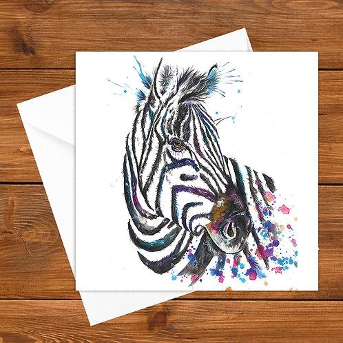 Splatter Zebra Greeting Card