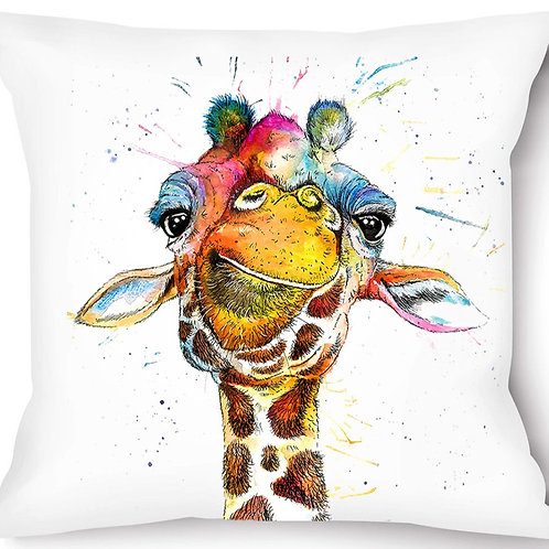 Rainbow Giraffe Vegan Suede Cushion