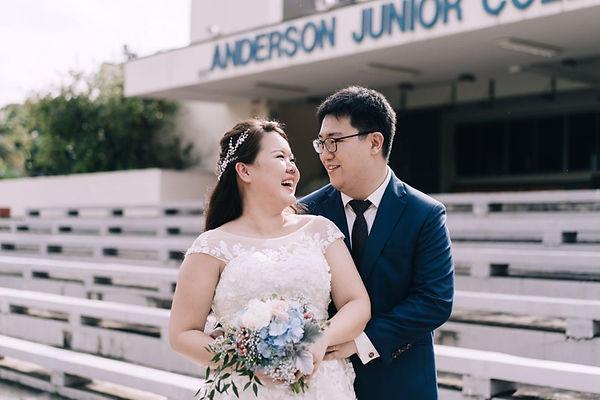 Singapore's top florist wedding bouquet bridal bouquet with blue hydrangea, ruscus, peonies, pre wedding shoot