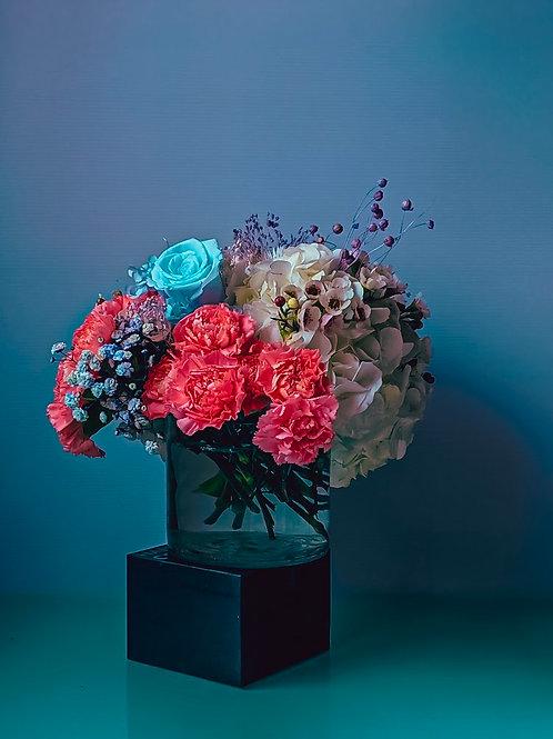 Hyberadad - Vase Full of Hydrangeas, Wax Flowers, Carnations (Large)