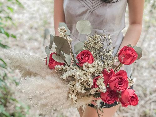 Pampas Red Rose Bridal Bouquet