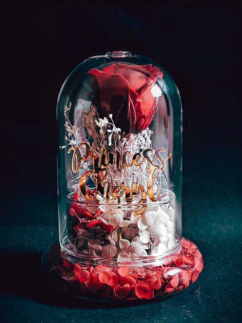 Preserved Rose in Glass Dome with Customised Acrylic Wordings - Regular