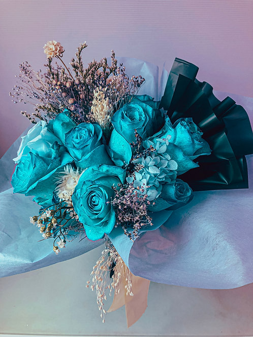 Tiffany and Teal Rose Bouquet (Preserved and Real)