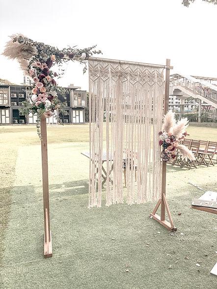 Rectangular Wedding Arch with floral decorations. Singapore Florist.