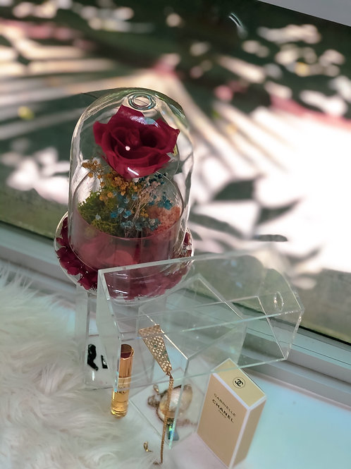 Blood Orange Red *POPULAR! Preserved Rose and Hydrangea in Glass Dome