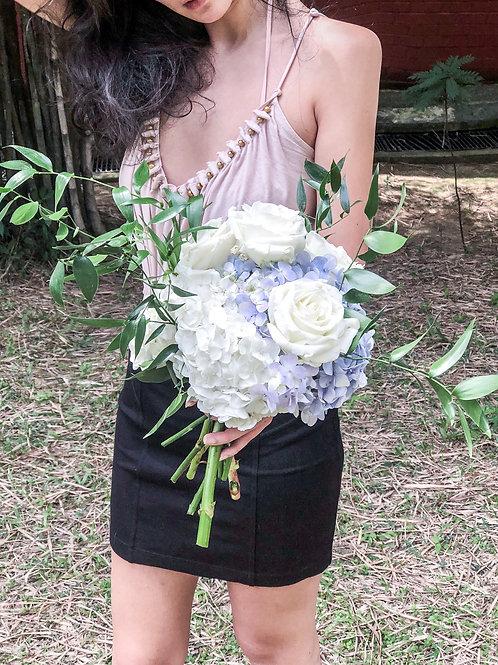 white and blue hydrangea bouquet with ruscus bouquet singapore florist