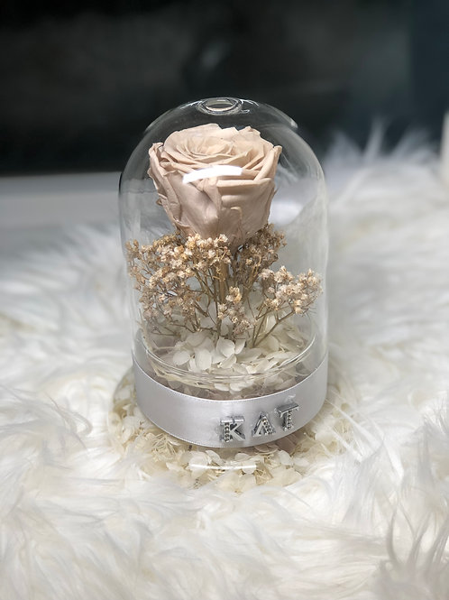 Preserved Rose and Hydrangea in Glass Dome - The Name Charm Edition
