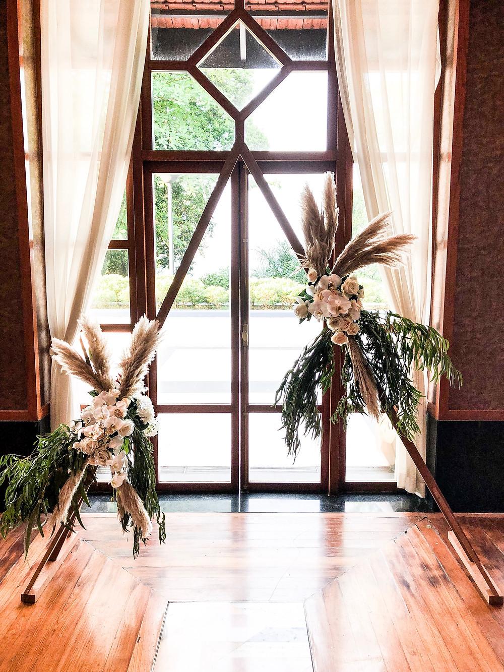 Triangular Wedding Arch Backdrop with Pampas Singapore Florist