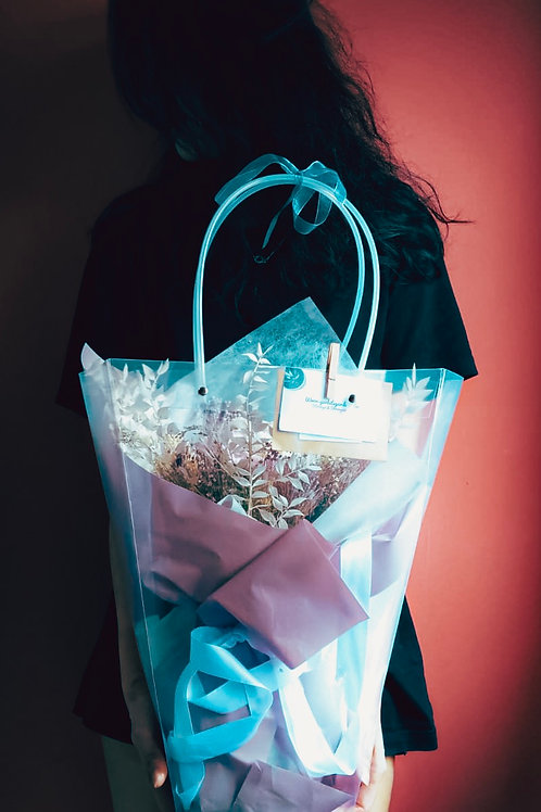 Preserved Bouquet with Dried Florals in a Bag - 30cm