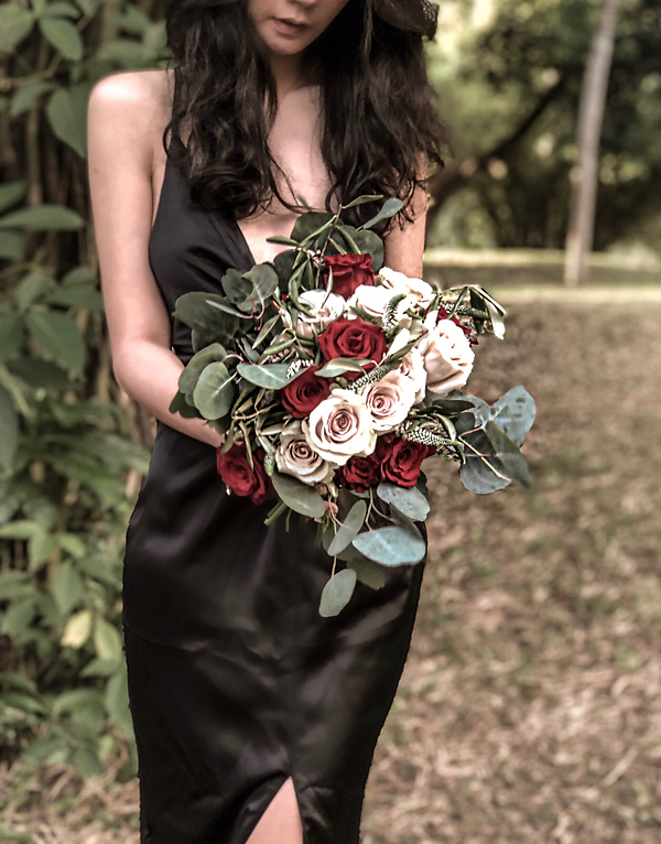 pink roses and red roses veronicas with