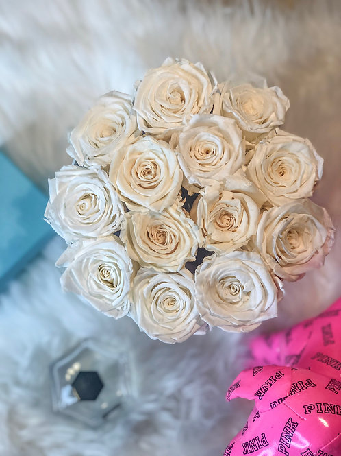White Preserved Roses in Gift Box