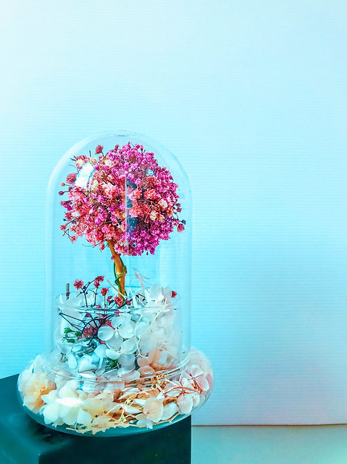 Preserved Sakura Cherry Blossom Tree in Clear Glass Dome