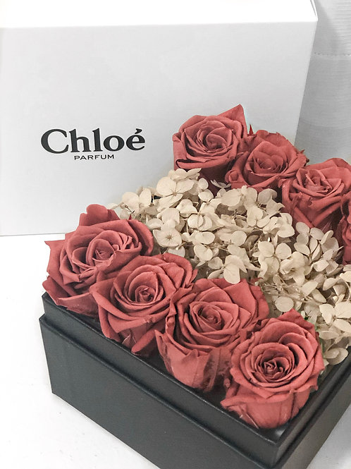 Preserved Rose and Hydrangea in Box - Cerise Red