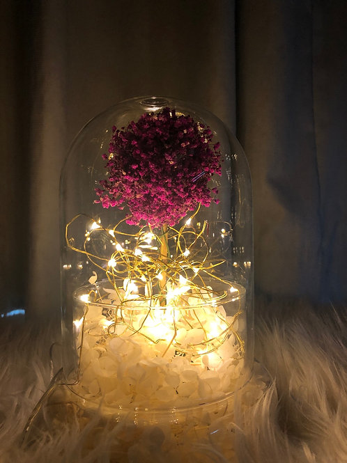 Sakura Tree In Glass Dome with Fairie Lights