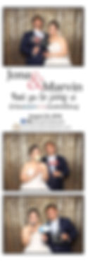 bride and groom posing photo booth