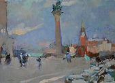 Column of San Marco, Windy Day. Oil on c