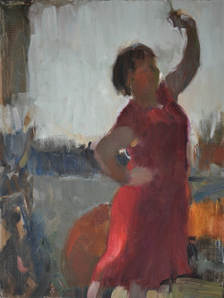 Red Dress. Oil on canvas 12x16 inches