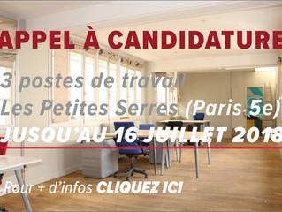 Appel à candidature : 3 postes en espace partagé aux Petites Serres (Paris 5e)