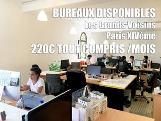 Bureaux disponibles en espace partagé aux Grands Voisins