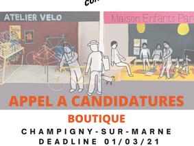 APPEL À CANDIDATURES // Champigny-sur-Marne // Boutique - 18 mois à partir du 1er avril 2020