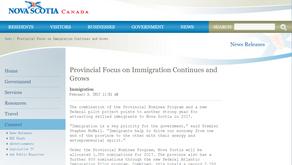 新斯科舍省 Nova Scotia 公布2017移民配额
