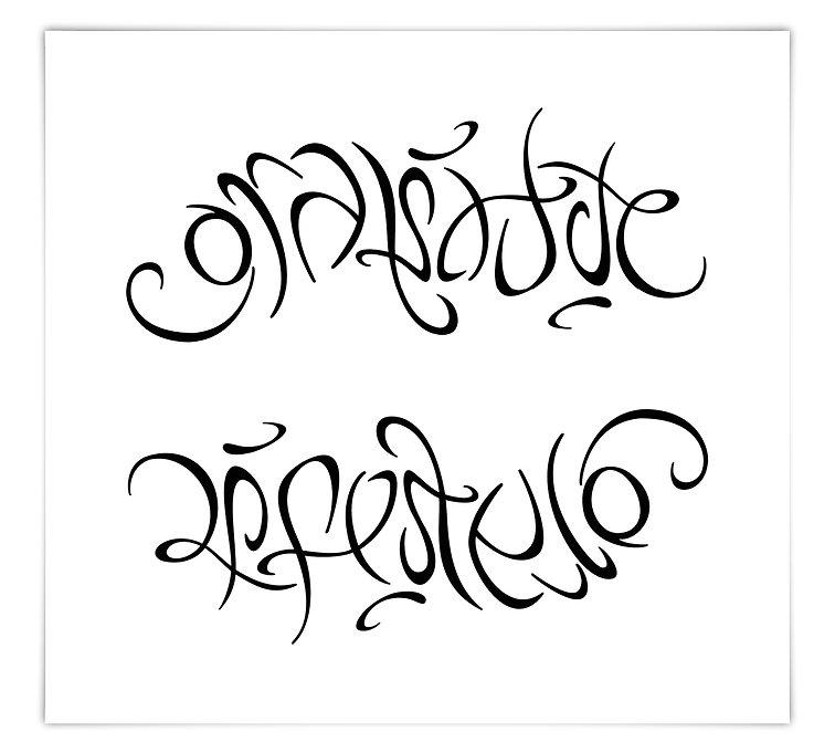 freie Kalligrafie free Calligraphy Ambigramm 180 Grad Drehung gratitude lifestyle