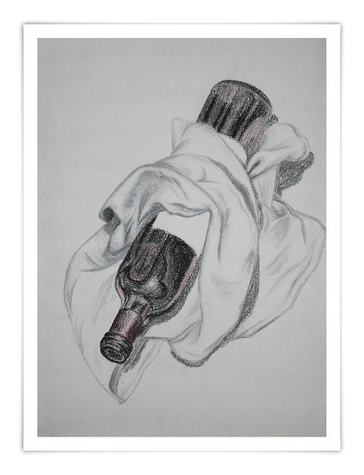 Zeichnung Sketch Ölkreide Weinflasche Tuch bottle of wine