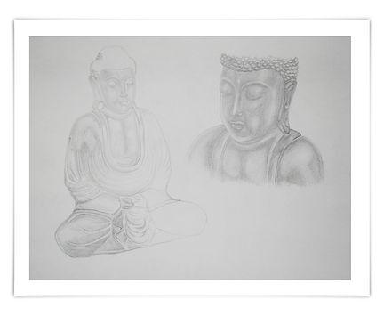 Zeichnung Sketch Bleistift Buddha Licht und Schatten Schattierung