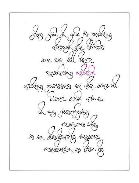 freie Kalligrafie Calligraphy Liedtext Songtext