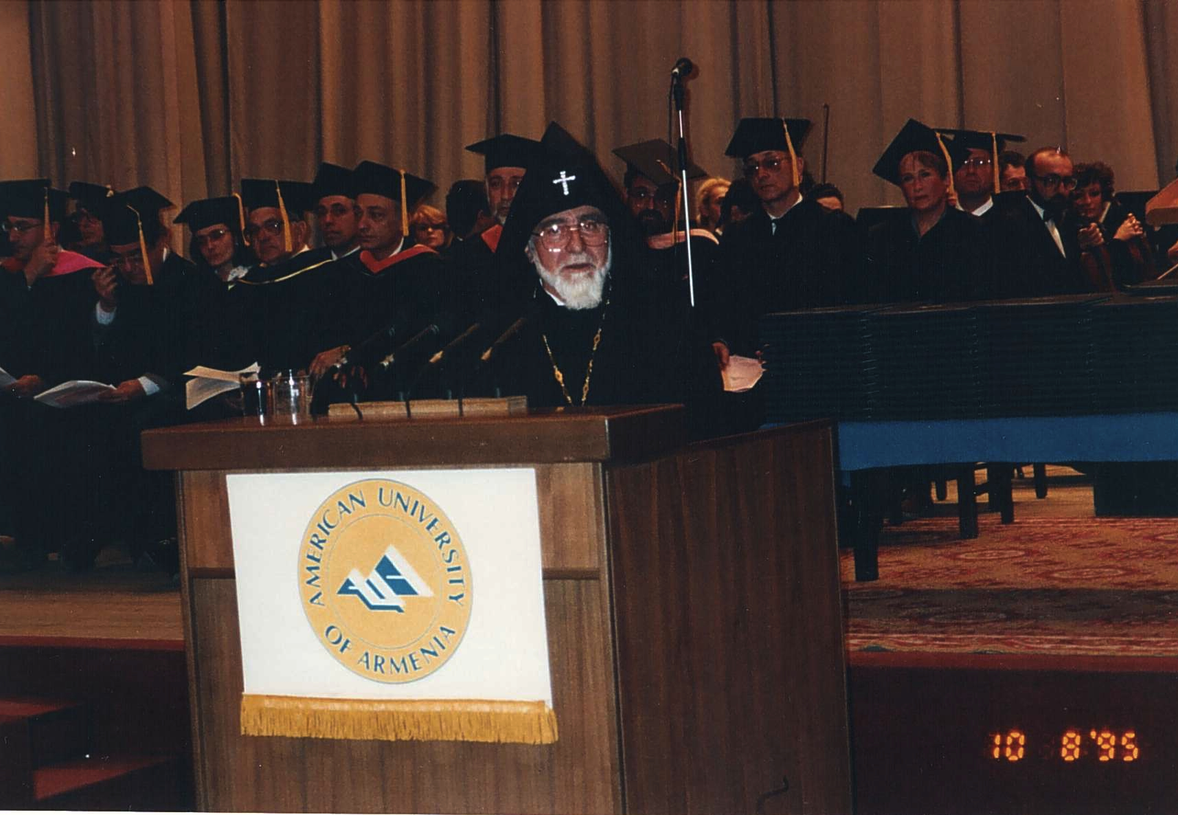Karekin I addressing the graduates of American University of Armenia.jpg