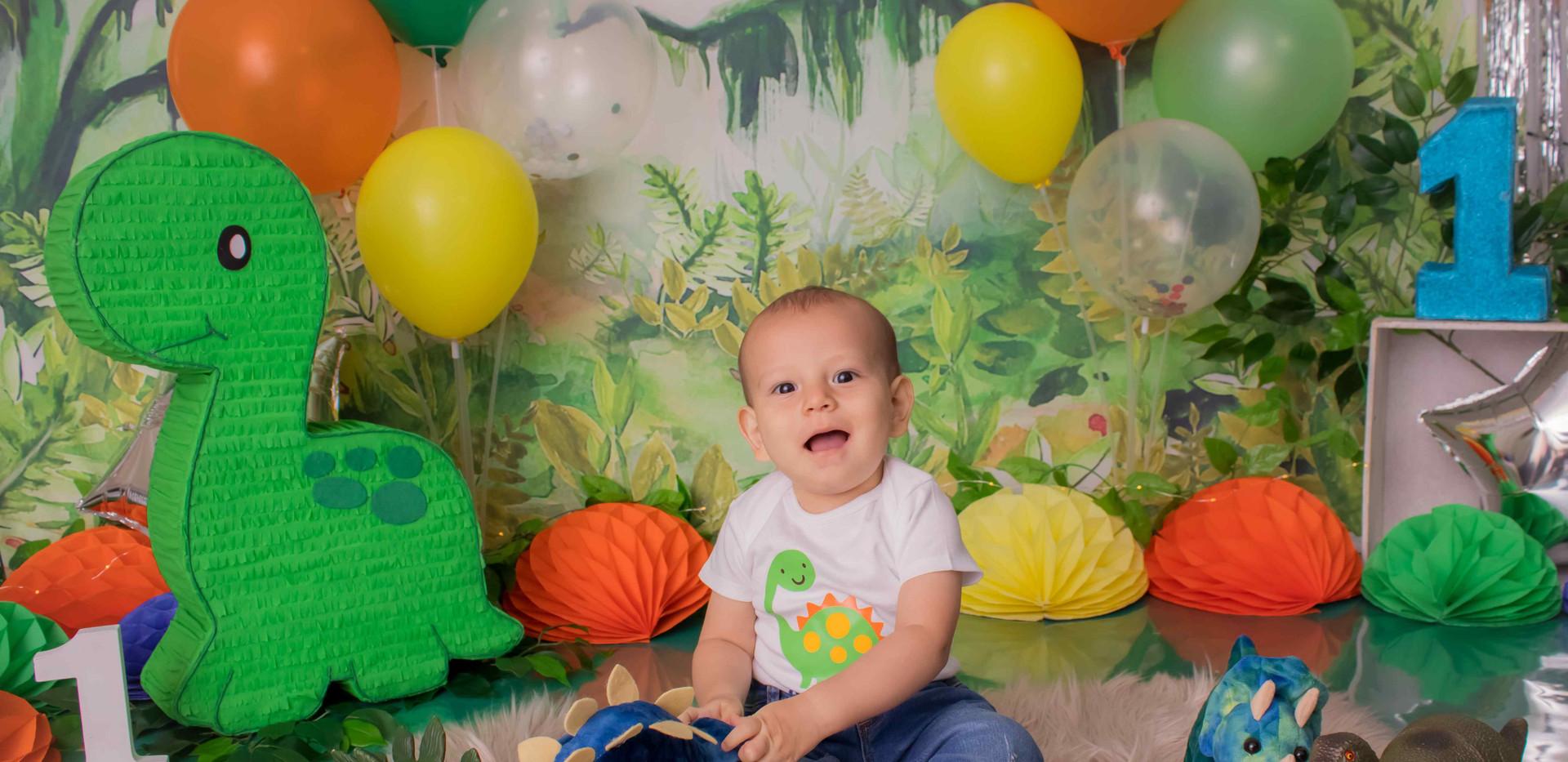 Fotografía de cumpleaños dinosaurios