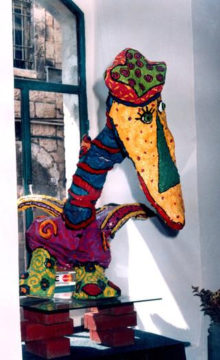 ציפור עיסת נייר לחנות איזולדה, ירושלים, שנות התשעים