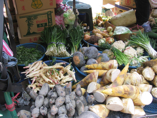 דוכן בשוק המקומי בטייוואן