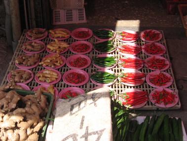 דוכן פלפלים חריפים בשוק