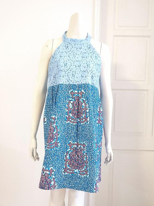 Blue Lace Ankara Dress