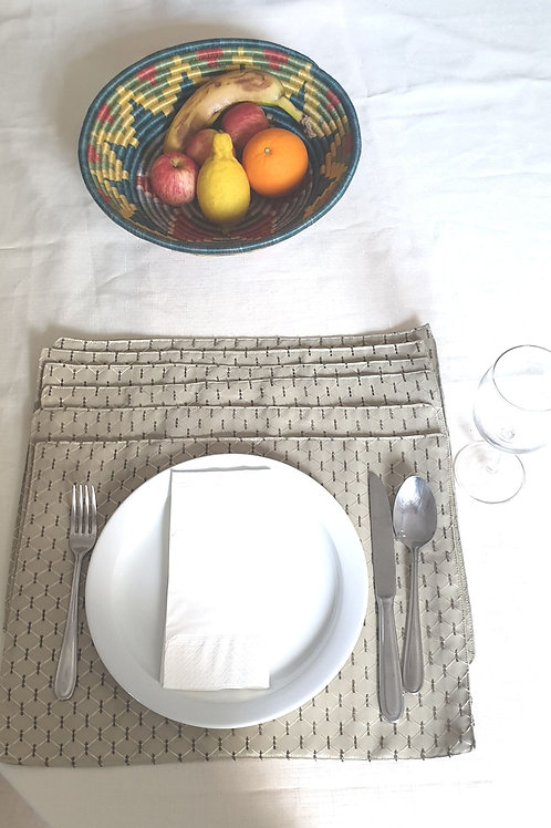 Olive Green Embossed Placemat set (6)