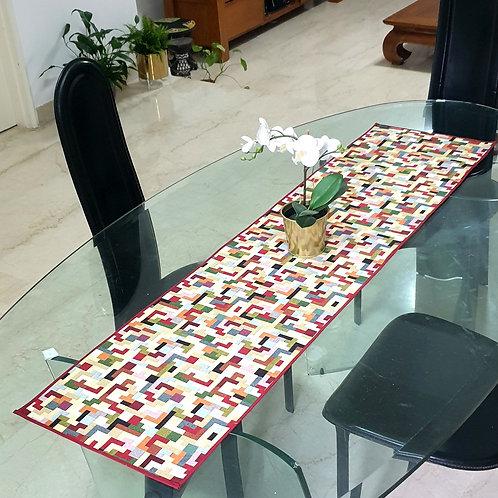 Multi coloured Table Runner (Burgundy)