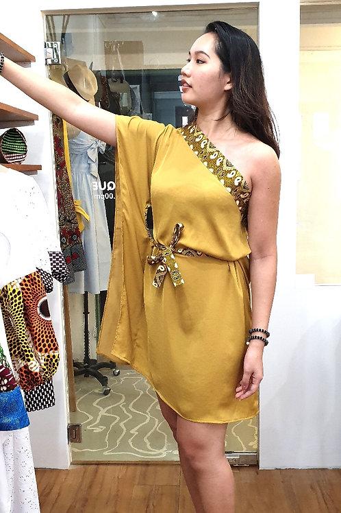Mustard One Shoulder Dress