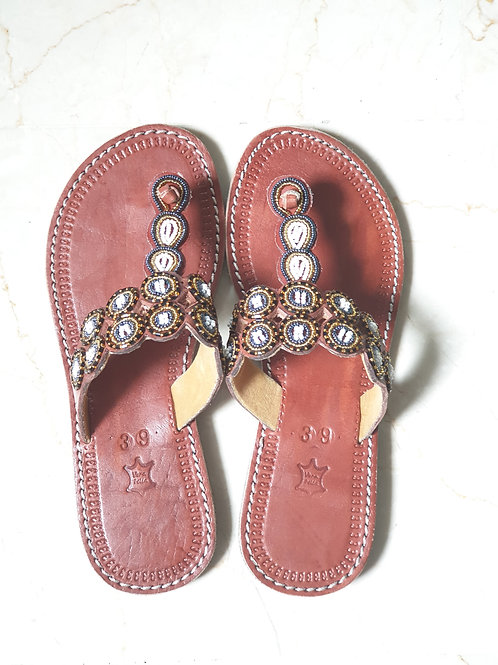 Bronze/White Beaded Sandals