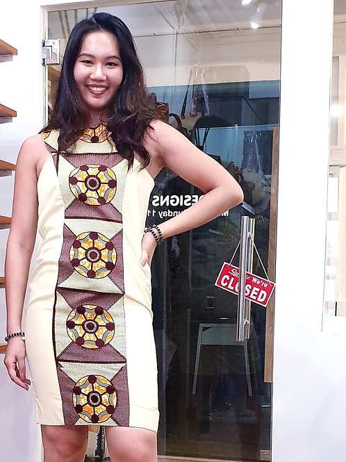 Cream Ankara Box Dress (available in black)