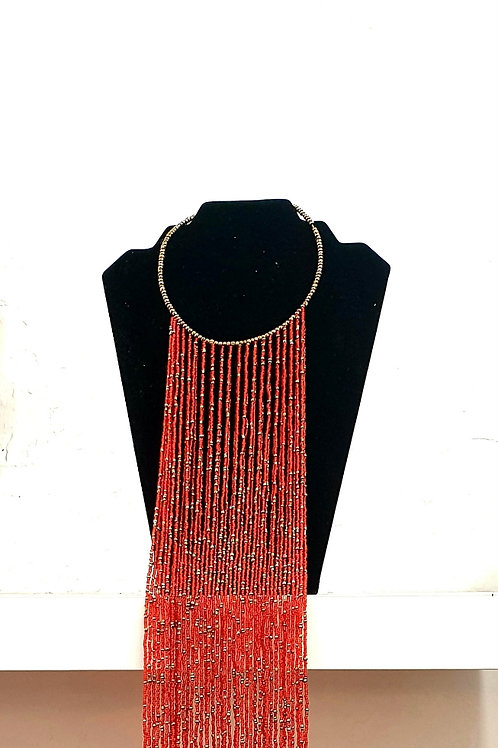 Red & Gold Speckled Beaded Necklace