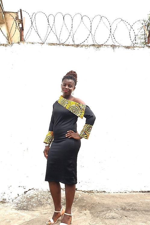 Oblique Shoulder Dress (Yellow)
