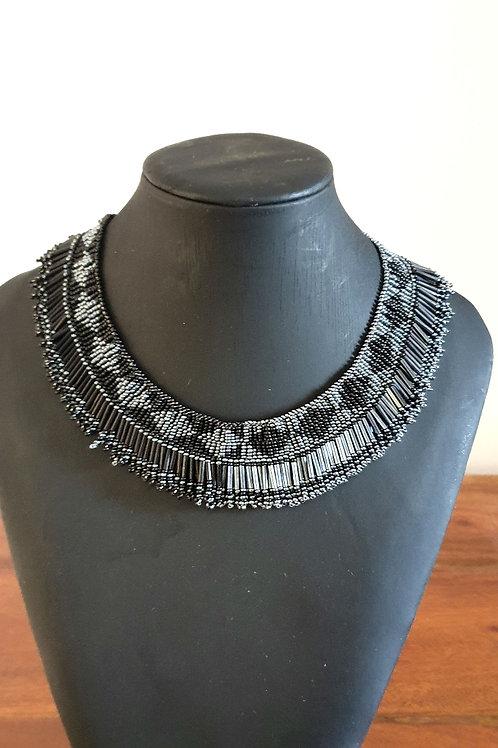 Princess Beaded Necklace (Black & Platinum colour)