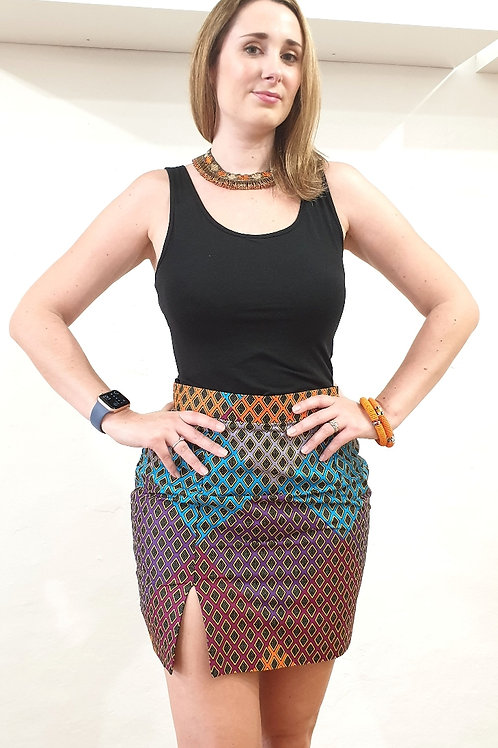 Ankara Diamond Mini Skirt